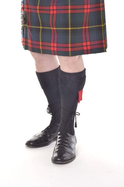 GLENCOE Black kilt socks
