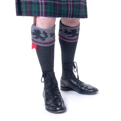 Black Lion Kilt Socks Mid grey