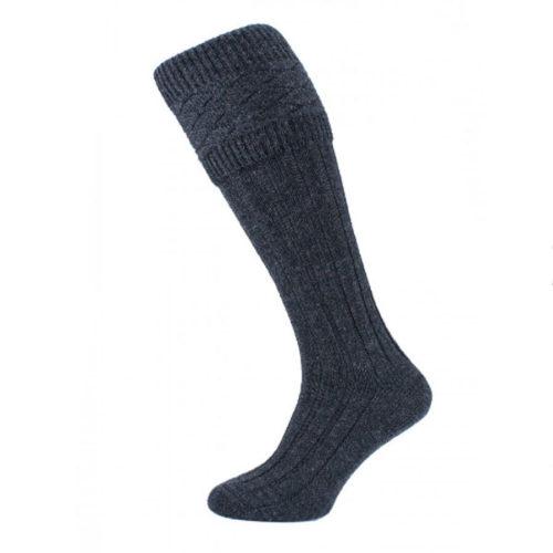 Patterned charcoal kilt socks