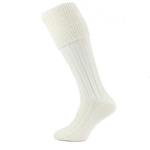 Ecru (cream) kilt socks (premium)